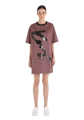 SIGNATURE LUREX & COTTON T-SHIRT DRESS