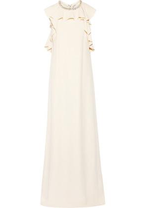 'Lanvin - Embellished Ruffled Crepe Gown - Ecru'