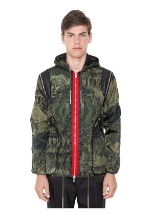 CAMO DOLLAR PRINT TECHNO SATIN JACKET