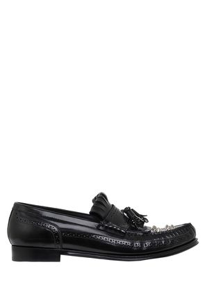 GENOVA STUDDED LEATHER LOAFERS W/TASSELS