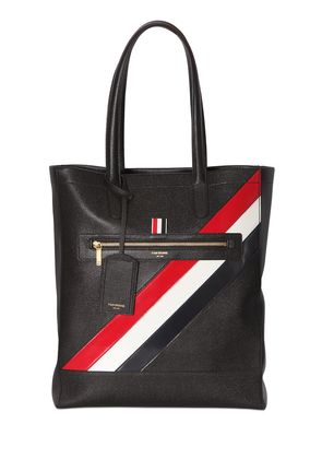 PEBBLED LEATHER TOTE BAG W/ STRIPES