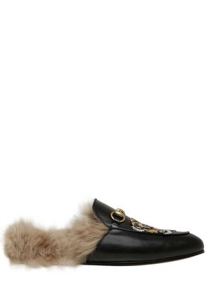 PRINCETOWN LEATHER SLIDE MULES WITH FUR