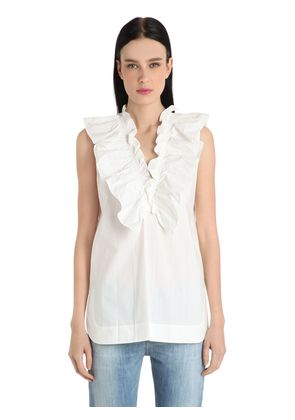 RUFFLED CRISP COTTON POPLIN TOP