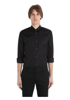 PIERCING STRETCH COTTON POPLIN SHIRT