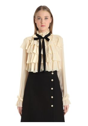 RUFFLED SILK GEORGETTE SHIRT WITH BOW