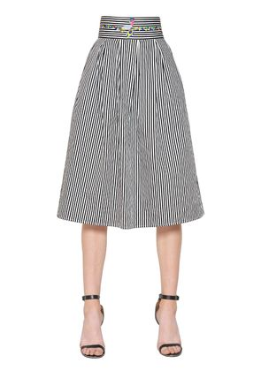 EMBROIDERED STRIPED COTTON POPLIN SKIRT