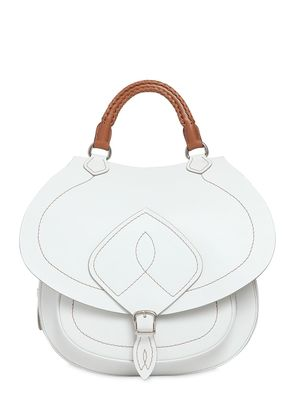 LEATHER TOP HANDLE BAG W/ TOP STITCHING