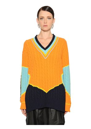 COLOR BLOCK COTTON JACQUARD KNIT SWEATER