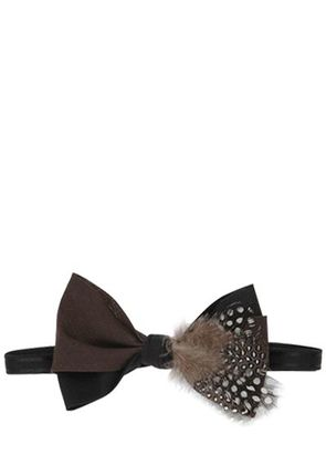 PLUME FEATHER EMBELLISHED BOW TIE