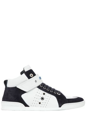 HIGH TOP LEATHER AND SUEDE SNEAKERS