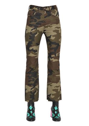 CROPPED & FLARED CAMOUFLAGE COTTON PANTS