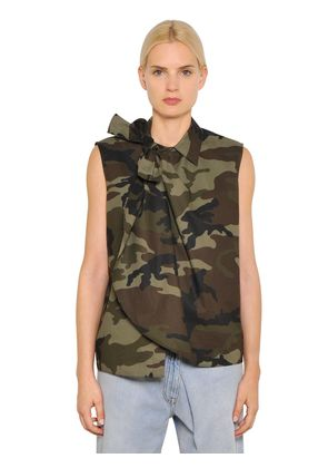 CAMOUFLAGE COTTON POPLIN TOP