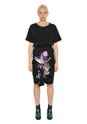 CATS ARCHIVE PRINT COTTON T-SHIRT DRESS