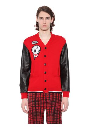 SKULL PATCH CARDIGAN W/ LEATHER SLEEVES