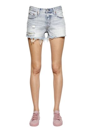 501 DESTROYED COTTON DENIM SHORTS