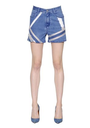 LACE INTARSIA COTTON DENIM SHORTS