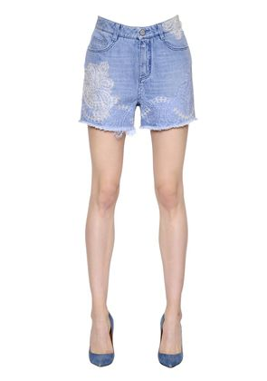 LACE EMBELLISHED COTTON DENIM SHORTS