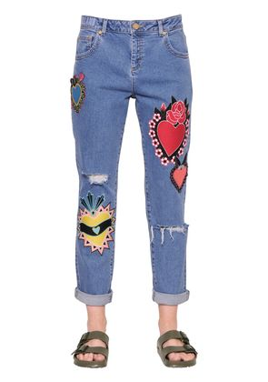 PATCH EMBROIDERED COTTON DENIM JEANS