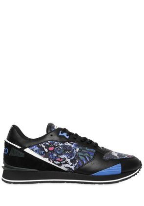 PRINTED NYLON & LEATHER RUNNING SNEAKERS