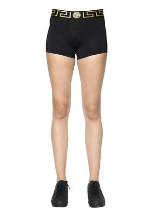 LYCRA BIKER SHORTS W/ GREEK DETAIL