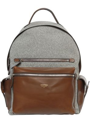 COTTON BLEND & LEATHER BACKPACK