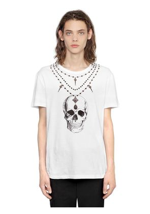 NECKLACE PRINT COTTON JERSEY T-SHIRT