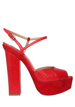 150MM AYERS & SUEDE PLATFORM SANDALS