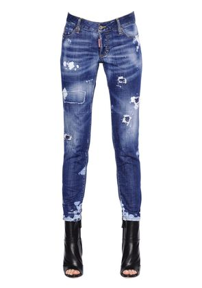 JENNIFER DESTROYED STRETCH DENIM JEANS