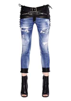 GLAM HEAD COTTON DENIM JEANS W/ LEATHER