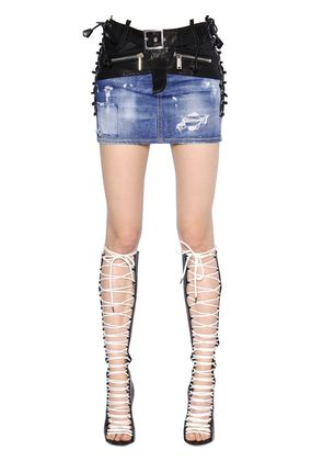 LACE-UP STRETCH DENIM & LEATHER SKIRT