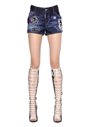 COOL GIRL STRETCH DENIM SHORTS W/PATCHES