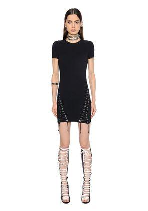LACE-UP STRETCH CADY DRESS