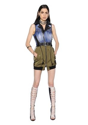 LACE-UP STRETCH DENIM & CANVAS DRESS