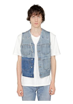 WASHED COTTON DENIM VEST