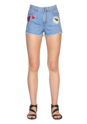 SEQUIN EMBROIDERED COTTON DENIM SHORTS