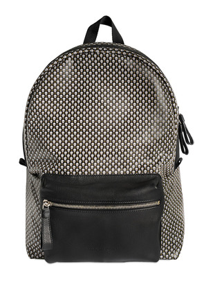 SKULL PRINTED COATED CANVAS BACKPACK