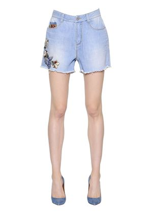 FLORAL EMBROIDERED COTTON DENIM SHORTS