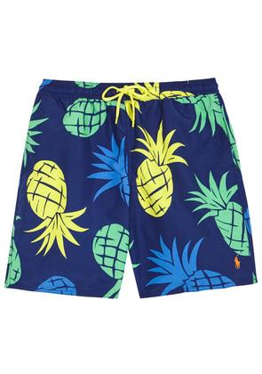 Blue pineapple-print swim shorts