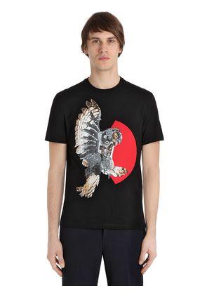 OWL PRINTED COTTON JERSEY T-SHIRT