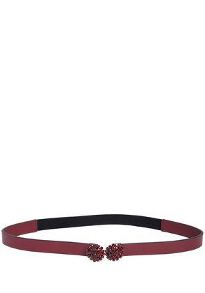 CRYSTAL MID WAIST LEATHER BELT