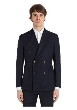DOUBLE BREASTED WOOL HOPSACK K JACKET