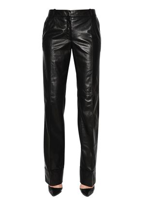 STRAIGHT FOLDED LEATHER PANTS