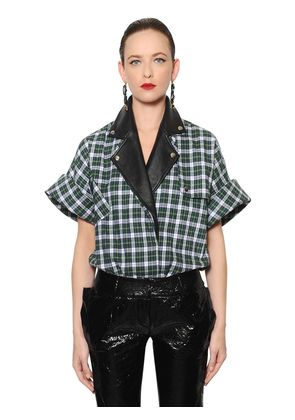CHECKED BRUSHED COTTON & LEATHER SHIRT