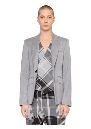 SUITING WOOL JACKET W/ PLAID VEST