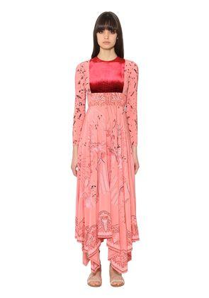 PRINTED CREPE DE CHINE & VELVET DRESS