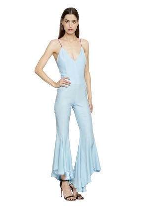 FLARED LEG SILK CREPE DE CHINE JUMPSUIT