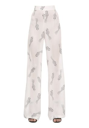 FISHES PRINTED FLARED SILK PANTS
