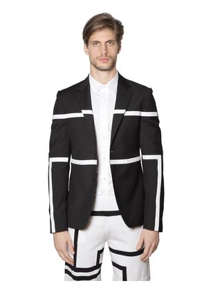 STRIPED LIGHT WOOL STRETCH JACKET