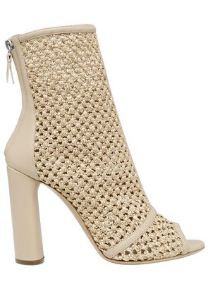 100MM WOVEN OPEN TOE ANKLE BOOTS