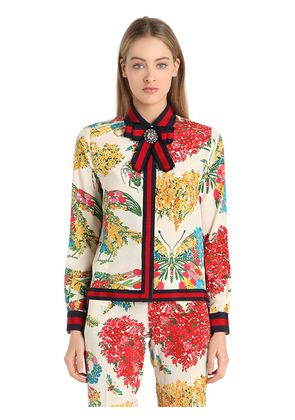 FLORAL PRINTED SILK CADY CREPE SHIRT